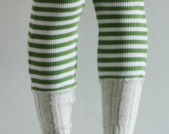 Hand made / Leg warmer / re purposed sleeves / women / recycled / upcycled / green and white stripes / ribbed knit