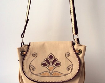 Leather Crossbody Bag Beige Cream and Bordeaux Original and Stylish Woman Bag, Mothers Day Gift Idea