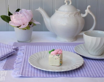 Tea placemats and napkins. Lavender gingham napkins & reversible ruffled placemats. Set of 2 or 4. Perfect for spring tea, brunch or lunch.