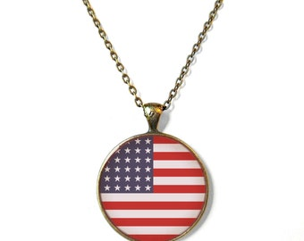 American Flag Necklace - Fourth of July Red White and Blue Jewelry - Stars and Stripes USA Flag Jewelry