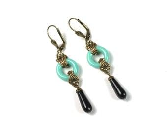 Art Deco Earrings w/ Turquoise Czech Glass