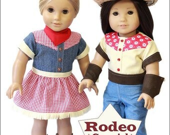 Pixie Faire Doll Tag Clothing Rodeo Cowgirl  Doll Clothes Pattern for 18 inch American Girl Dolls - PDF