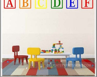 Alphabet Wall Decal ABC Playroom Wall Decal  ABC Wall Decal Vinyl Lettering  Alphabet Letters  Toddler Kids Playroom Wall Decal