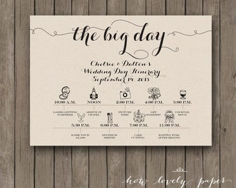 Stationery curated by i do on etsy printable wedding day itinerary card wedding bridal party vendors lovelylogoco pronofoot35fo Image collections