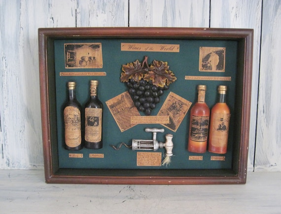 Vintage Wooden Frame Shadow Box Wines Of The World Shadowbox