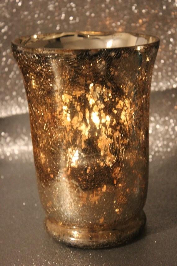 Set of 2 GOLD GLASS VASES Mercury Glass Style Gold Leaf