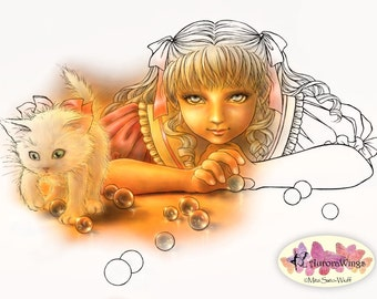 Digital Stamp - Windows to Your Soul Innocent Version - Girl and Kitten with Marbles - Line Art for Cards & Crafts by Mitzi Sato-Wiuff