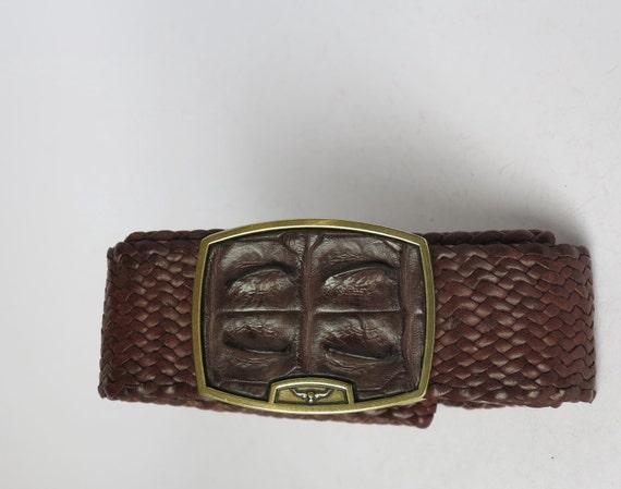 mens brown kangaroo leather plaited belt by
