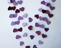Paper heart garland - Orchid purple violet, Heart garland, Wedding garland, Wedding decoration, Bridal shower decor, Purple wedding,KCO-0032