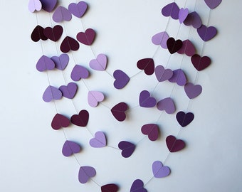 Heart garland, Wedding decor, Purple heart garland, Bridal shower decoration, Purple wedding decoration, Bridal shower decor, KCO-3032