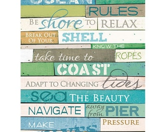 MA891 - Ocean Rules / wood slats / Textured, finished wall decor ready to hang by Marla Rae