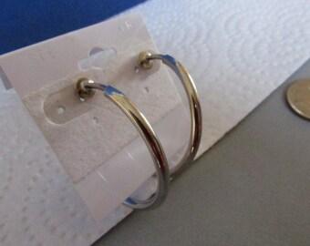 Vintage Silver Hoop Earrings, 1 1/2 inch Diameter, Collectible Jewelry