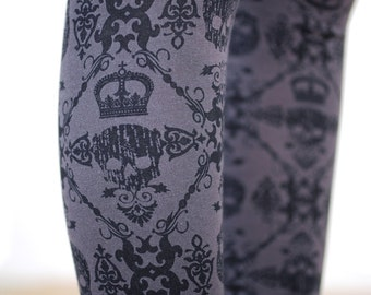 SALE - Black and Grey Skull and Scroll Printed Leggings