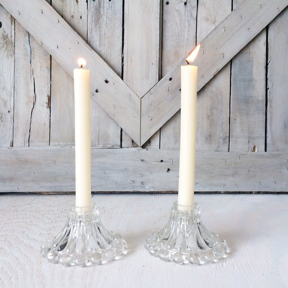 Vintage Glass Hobnail Candle Holder-Set of 2-French Country Shabby Chic Cottage Farmhouse Seedling Plantation