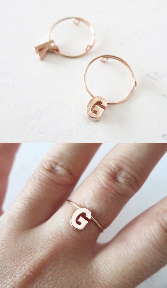Personalised Rose Gold Initial Letter Ring - Rose Gold Bridesmaid gifts, rose gold letter jewelry, best friend sister girlfriend ring