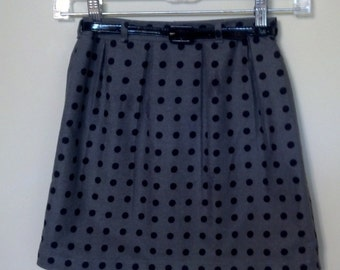 Girls Grey with Black Polka Dots Pleated Skirt