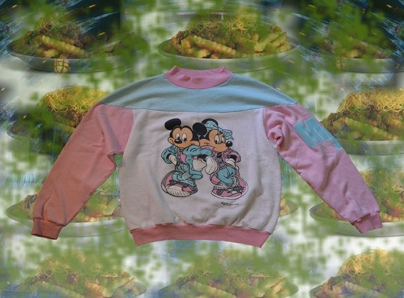 80s PASTEL Mickey Minnie Mouse Sweatshirt -- Vintage Disney Hipster Pastel Goth Soft Grunge Rave Sea Punk Mock Turtleneck Long Sleeve Top