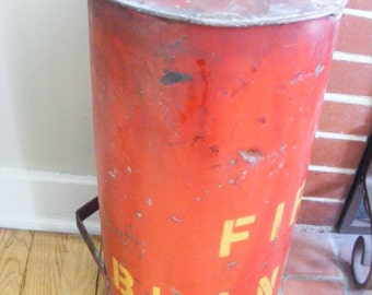 SALE Old Red Industrial Fire Blanket Container Holder