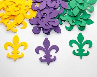 100 Purple, Yellow & Green Fleur De Lis Confetti, Fleur De Lis Die Cut, Mardi Gras Confetti, Wedding, French, Shower, Party Decor