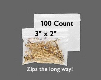"CLEARANCE - Plastic Bags - Zipper Bag - 3"" x 2"" - Zip Close Bags - Zip Bag - Storage Bag - Resealable Bag - 100 COUNT - Side Zip Bag"