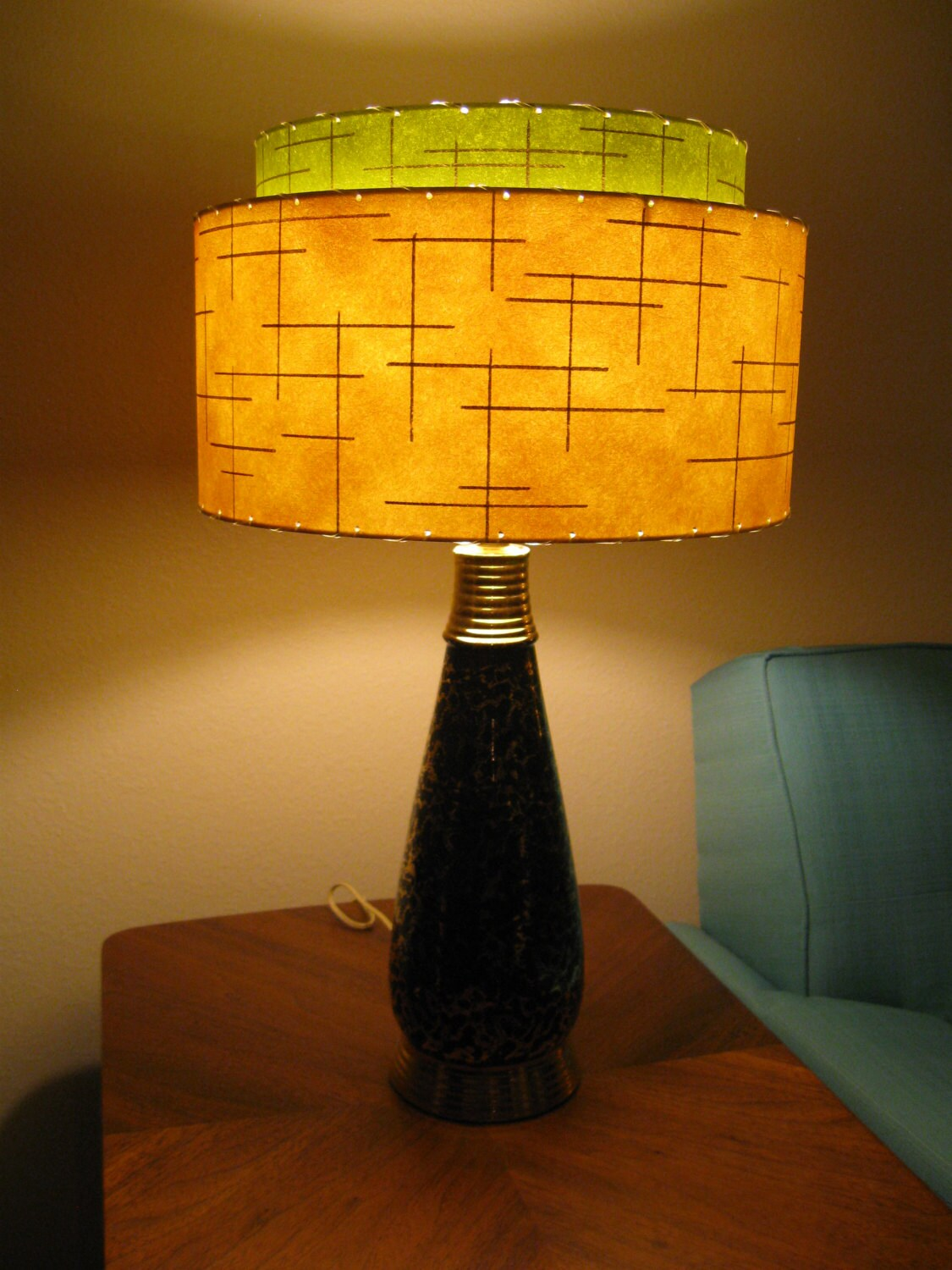 mid century vintage style 2 tier fiberglass lamp shade modern. Black Bedroom Furniture Sets. Home Design Ideas