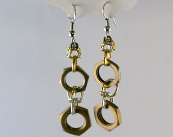 Hex Nut Chainmaille Earrings