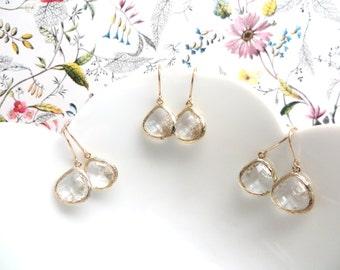 Set of 3 Gold Bridesmaid Earrings Clear Crystal Earrings Gold Earrings Simple Wedding Jewelry Gold Bridal Jewelry Clear Drop Earring