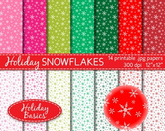 snowflake digital paper in red, pink and green holiday paper Christmas digital scrapbook supplies commercial use DIGITAL DOWNLOAD DP-230