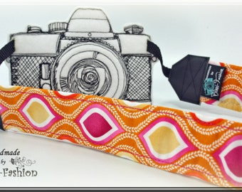 Retro - Camera strap, DSLR, photografie, orange, pink