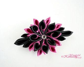Curly Petals Tsumami Kanzashi Fabric Satin Flower Hair Clip Hot Pink and Black