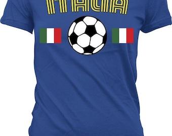 Italia Soccer Ladies T-shirt, Italy Flag Shirt, Italian Pride, International Italian Flag. Trendy Juniors and Women's Tshirts_ITA_04