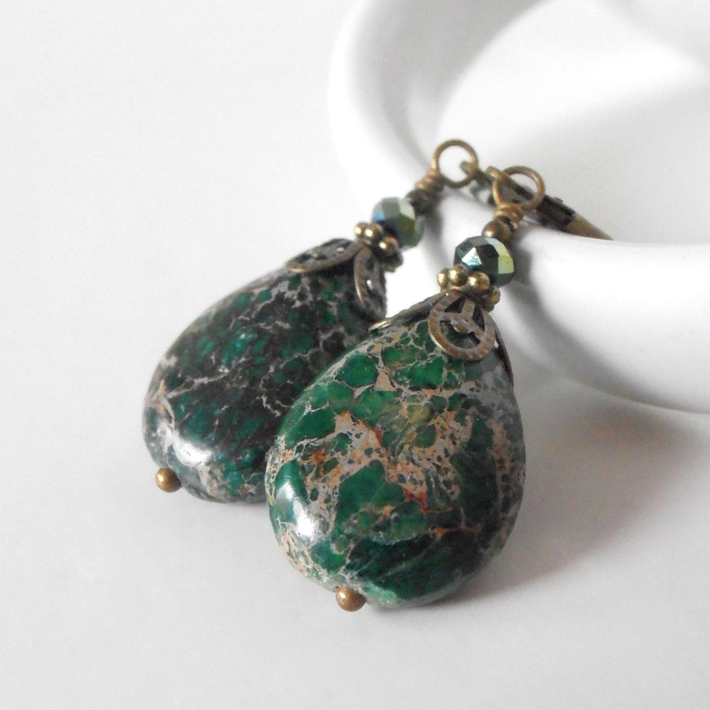 Natural green jasper Pendant necklace S925 sterling silver ...  |Green Jasper Jewelry