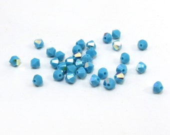 Swarovski Crystal 4mm Bicones, 24 Turquoise Blue AB Swarovski Crystal Beads, Turquoise Blue Glass Beads, Item 135B