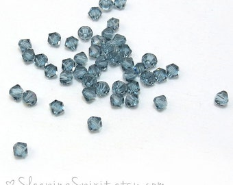 Swarovski Crystal Bicones, 24 Indian Sapphire Blue-Gray Swarovski Crystal Beads, 4mm Bicones, Genuine Swarovski Crystal Beads, Item 150B
