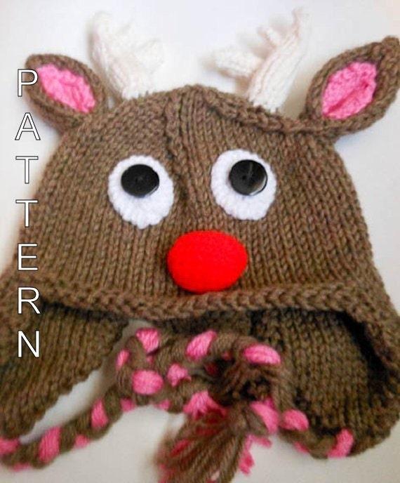 Knitting Pattern Reindeer Hat : Knitting Pattern Rudolph Reindeer Hat Animal by WistfullyWoolen