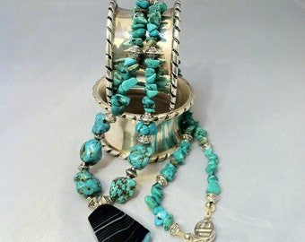 Blue Ice & Turquoise/ Turquoise Nugget Necklace/ Blue Agate/ Teal Pendant