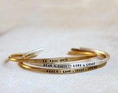 Cuff bracelet personalized sterling silver and brass bracelets set of 3 rustic cuffs