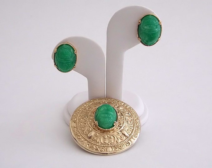 Green Scarab Demi Parure - Vintage 1960s Egyptian Revival Brooch and Earrings Set
