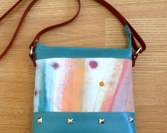Hand painted shoulder bag with leather strap #3