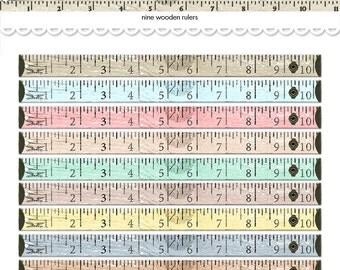 Digital distressed vintage wooden rulers /  wood tape measure / altered art  / embellishment / downloadable / printable / pastels, neutrals