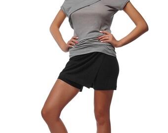 Black Asymmetric Skorts - Bikram Yoga Shorts - Designer Yoga Shorts