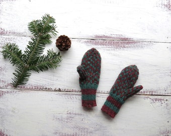 Kids Hand Knit Wool Mittens Double Knit Red Green Kids Boys Youth