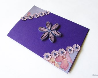 Purple Flower Quilling Card, Quilled Birthday Card, Flower Greeting Card, Blank Birthday Card, Mother's day Card, Father's day card
