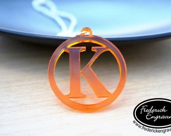 "Framed Roman Initial Necklace - Custom Acrylic Initials Necklace - Unique Acrylic Colors - 1.5"" Pendant"