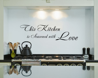 This Kitchen is Seasoned with Love Quote Decal Wall Vinyl Sticker Home Decor Wall Mural Kitchen Cafe Dorm V928