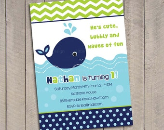 Whale Birthday Invitation / Whale Invitation /  Whale Invites / Preppy Whale Birthday Invitation / Blue Whale Invitation Printable