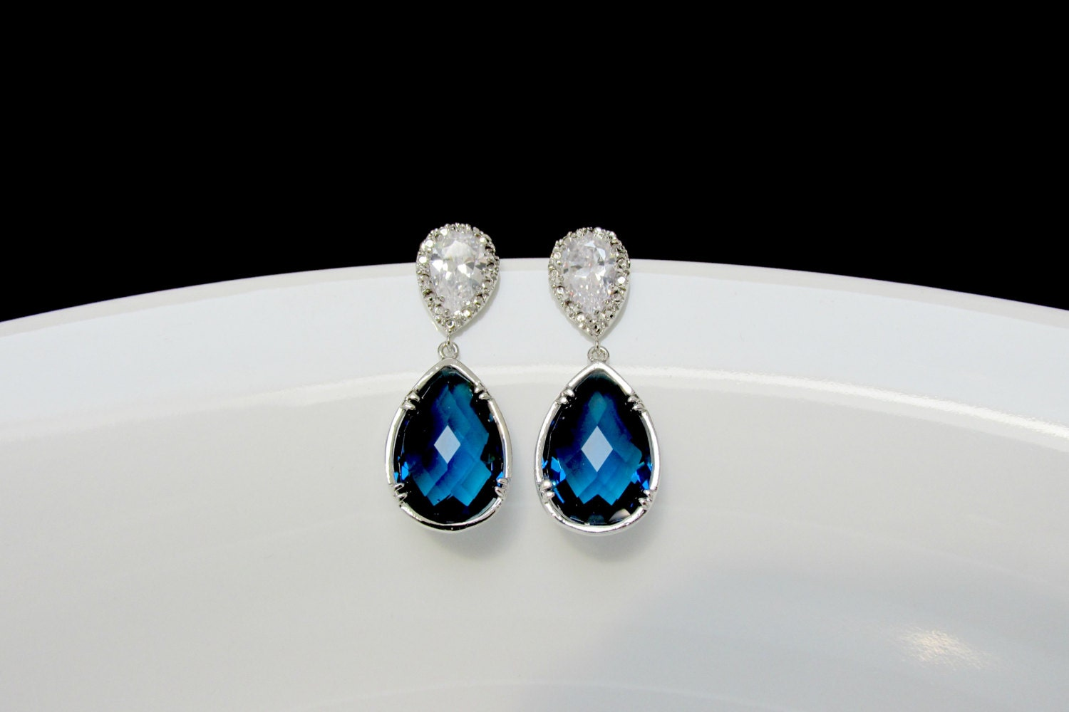Blue Bridal Earrings Sapphire Drop Earrings Blue Stone