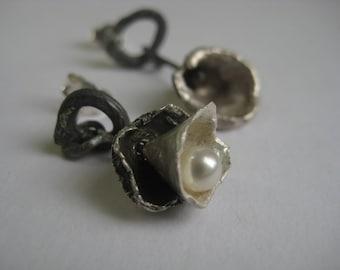 Ocean earrings, oxidised sterling silver, pearl, reticulated one of a kind, asymetrical earrings