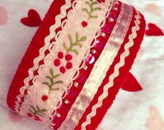 Red velour re purposed cuff, up-cycled cuff, sequined cuff