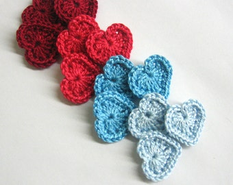 Crocheted tiny hearts 0.8 inches blue and red, set of 12